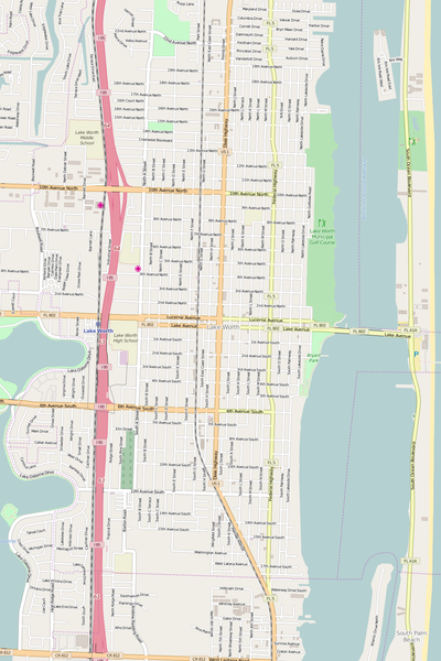 Detailed Editable Vector Map of  Lake Worth