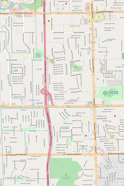 Detailed Editable Vector Map of  Lauderhill
