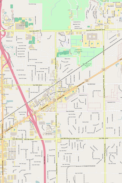 Detailed Editable Vector Map of  Lawrence