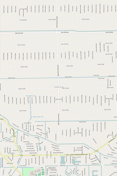 Detailed Editable Vector Map of  Lehigh Acres