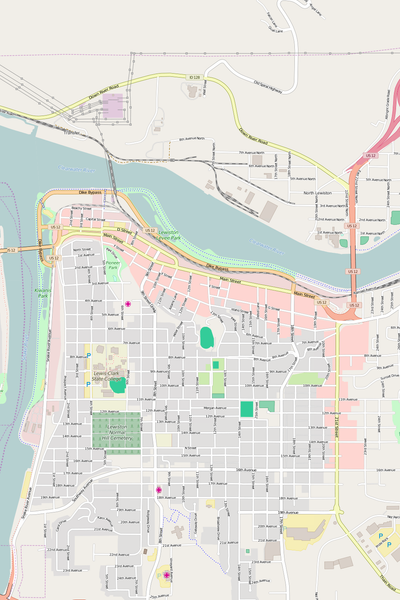 Detailed Editable Vector Map of  Lewiston