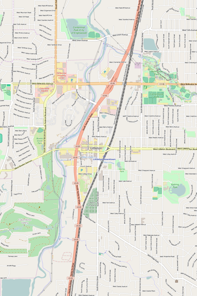 Detailed Editable Vector Map of  Littleton