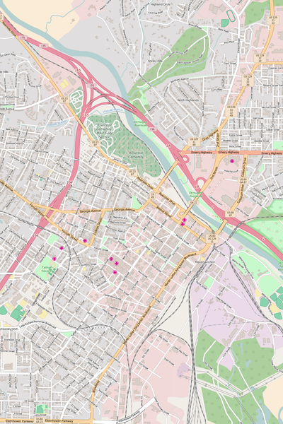 Detailed Editable Vector Map of  Macon