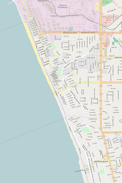 Detailed Editable Vector Map of  Manhattan Beach