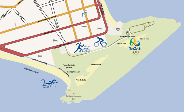 Editable Illustrator Map Copacabana Olympic Area