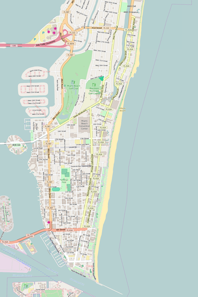 Detailed Editable Vector Map of  Miami Beach
