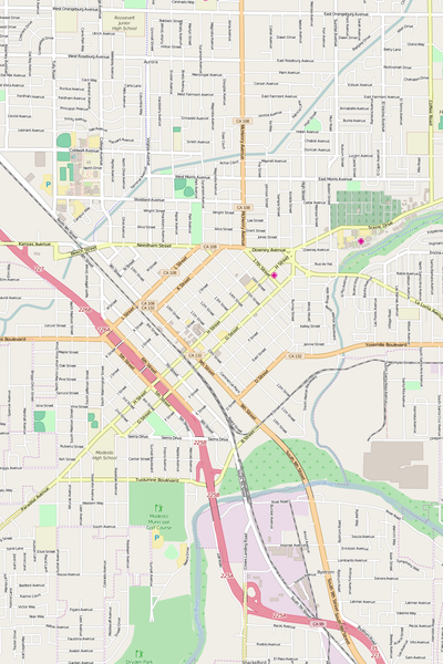 Detailed Editable Vector Map of  Modesto