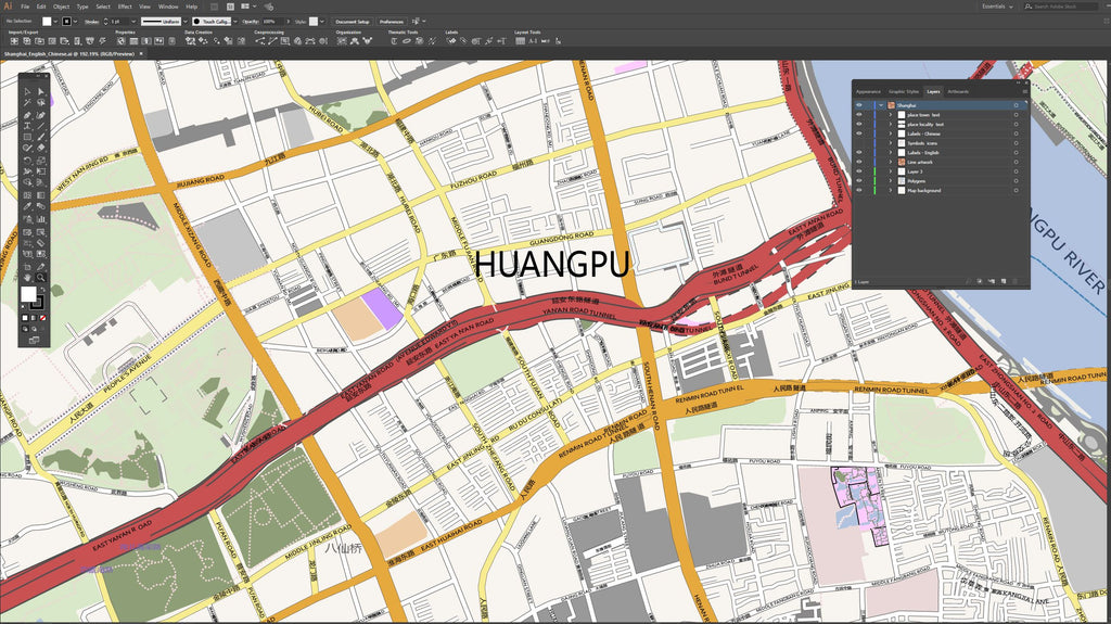 Shanghai City Map English and Chinese Street Names Map Illustrators