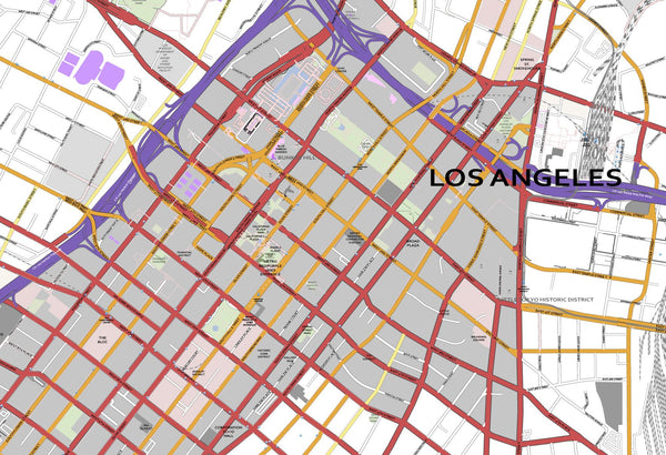 Editable City Map of Los Angeles