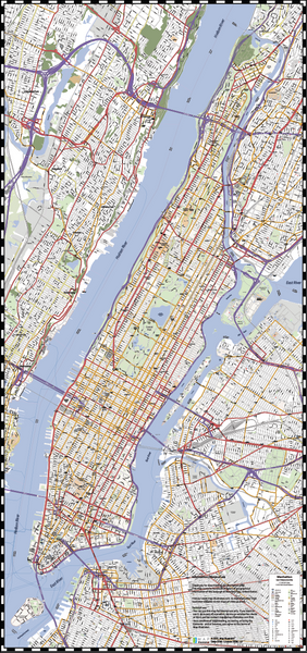 Detailed Vector Map of Manhattan New York City