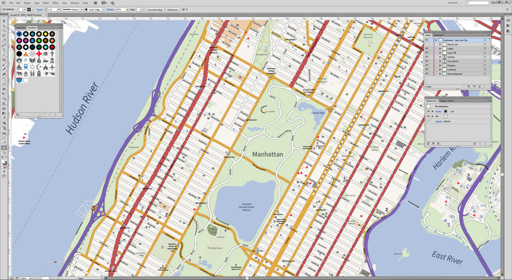Detailed Map Of New York City.Detailed Vector Map Of Manhattan New York City