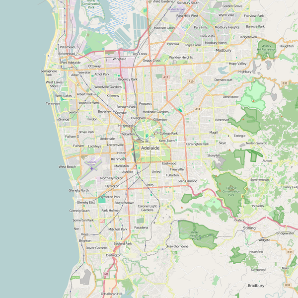 Editable City Map of Adelaide