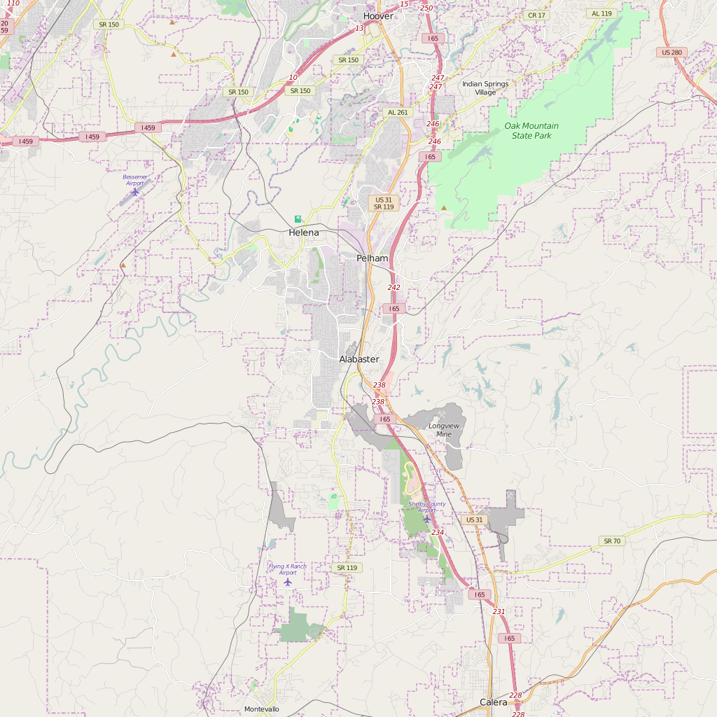 Editable City Map of Alabaster, AL