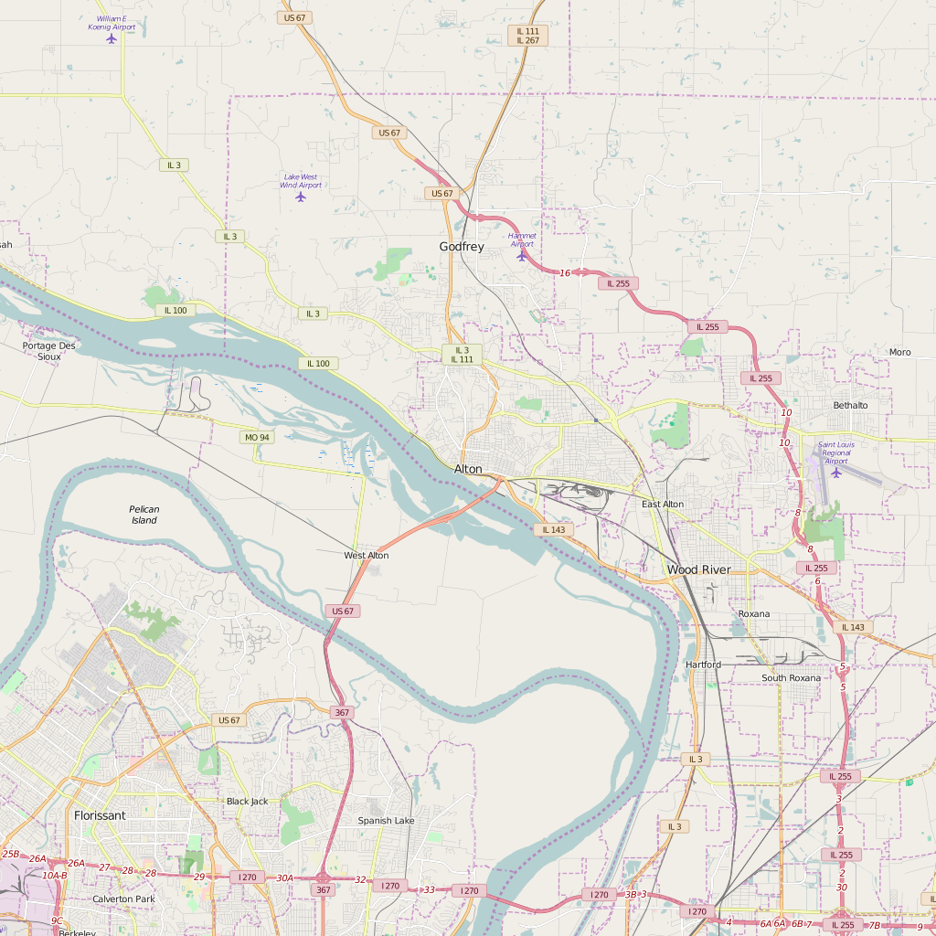 Editable City Map of Alton, IL