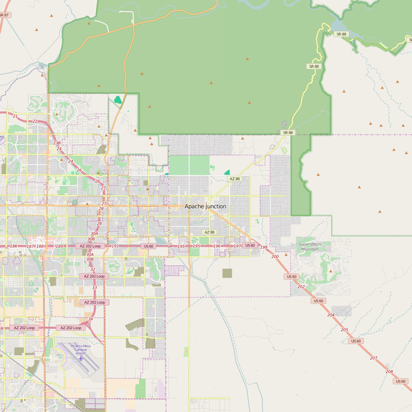 Editable City Map of Apache Junction, AZ