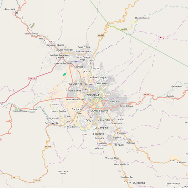 Editable City Map of Arequipa