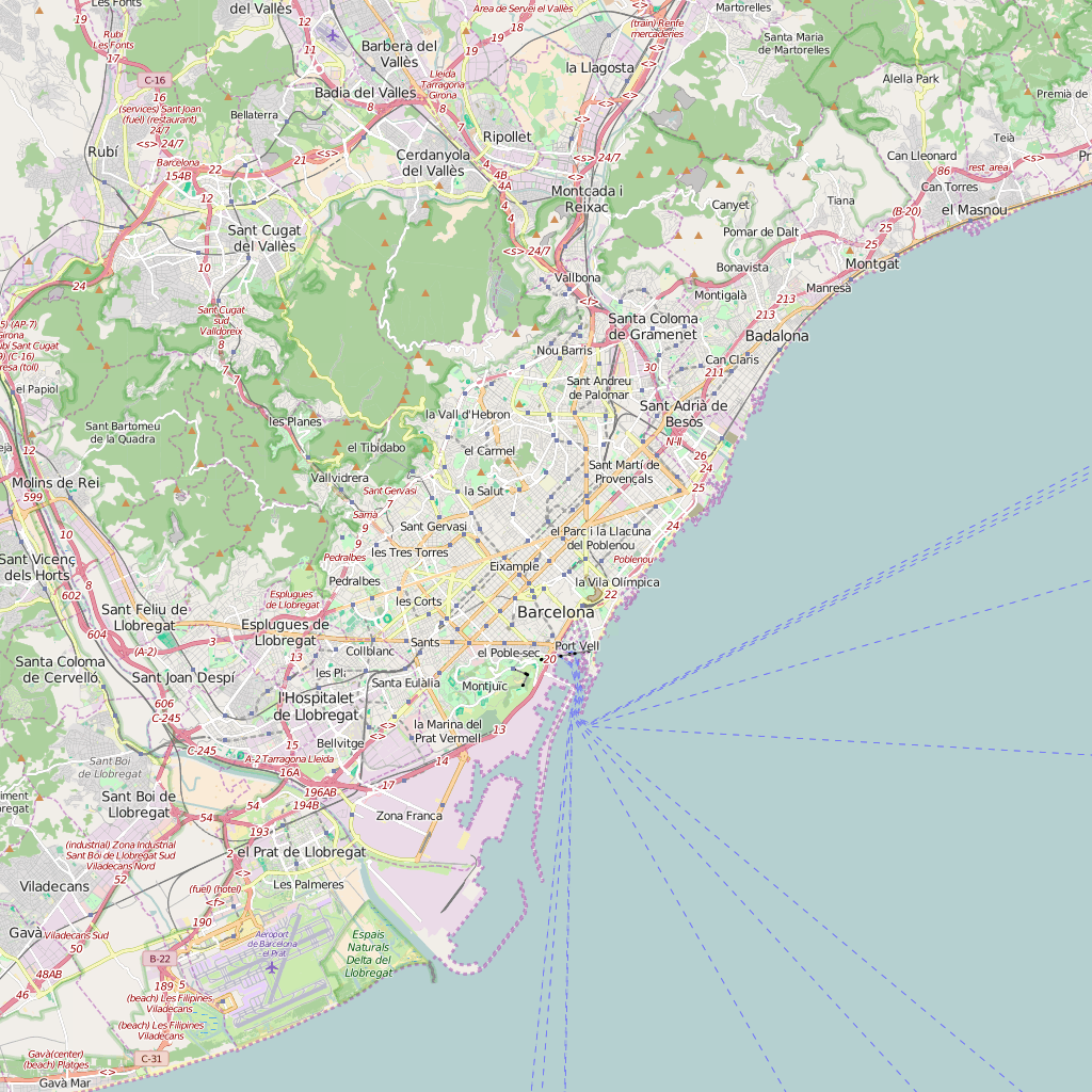 Editable City Map of Barcelona