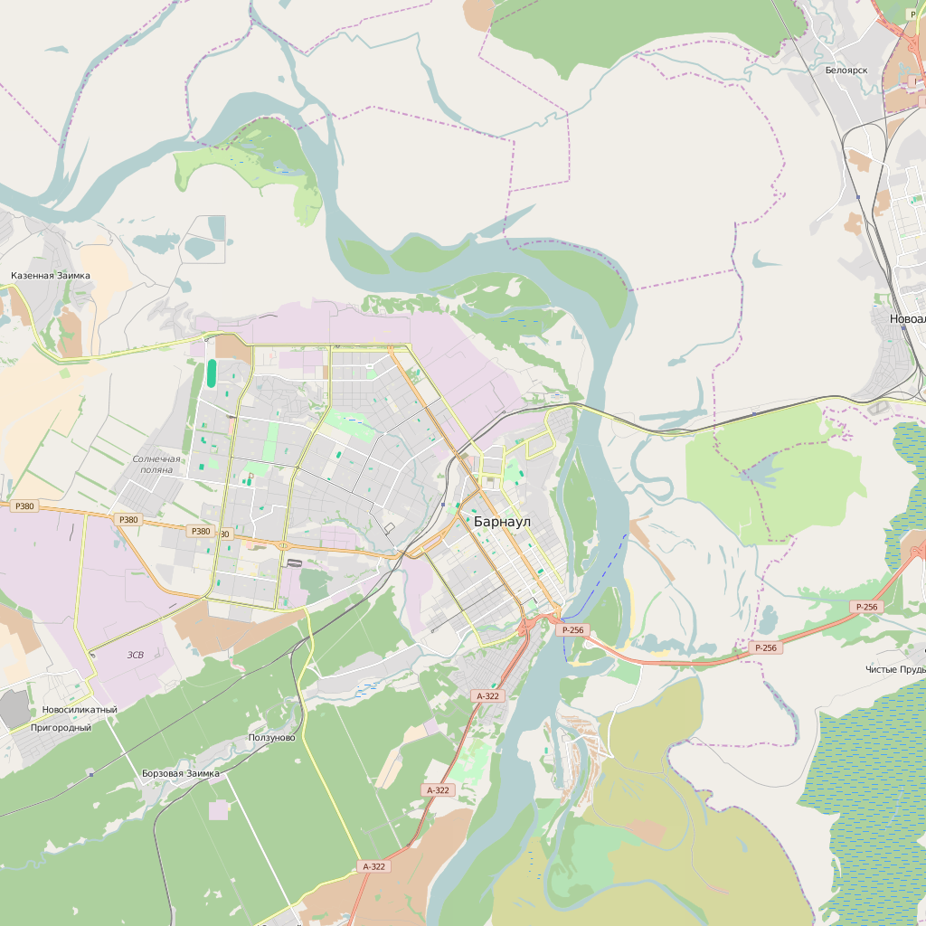 Editable City Map of Barnaul