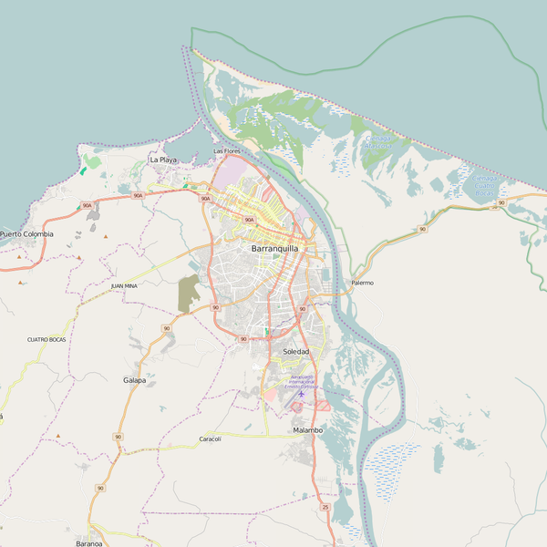 Editable City Map of Barranquilla