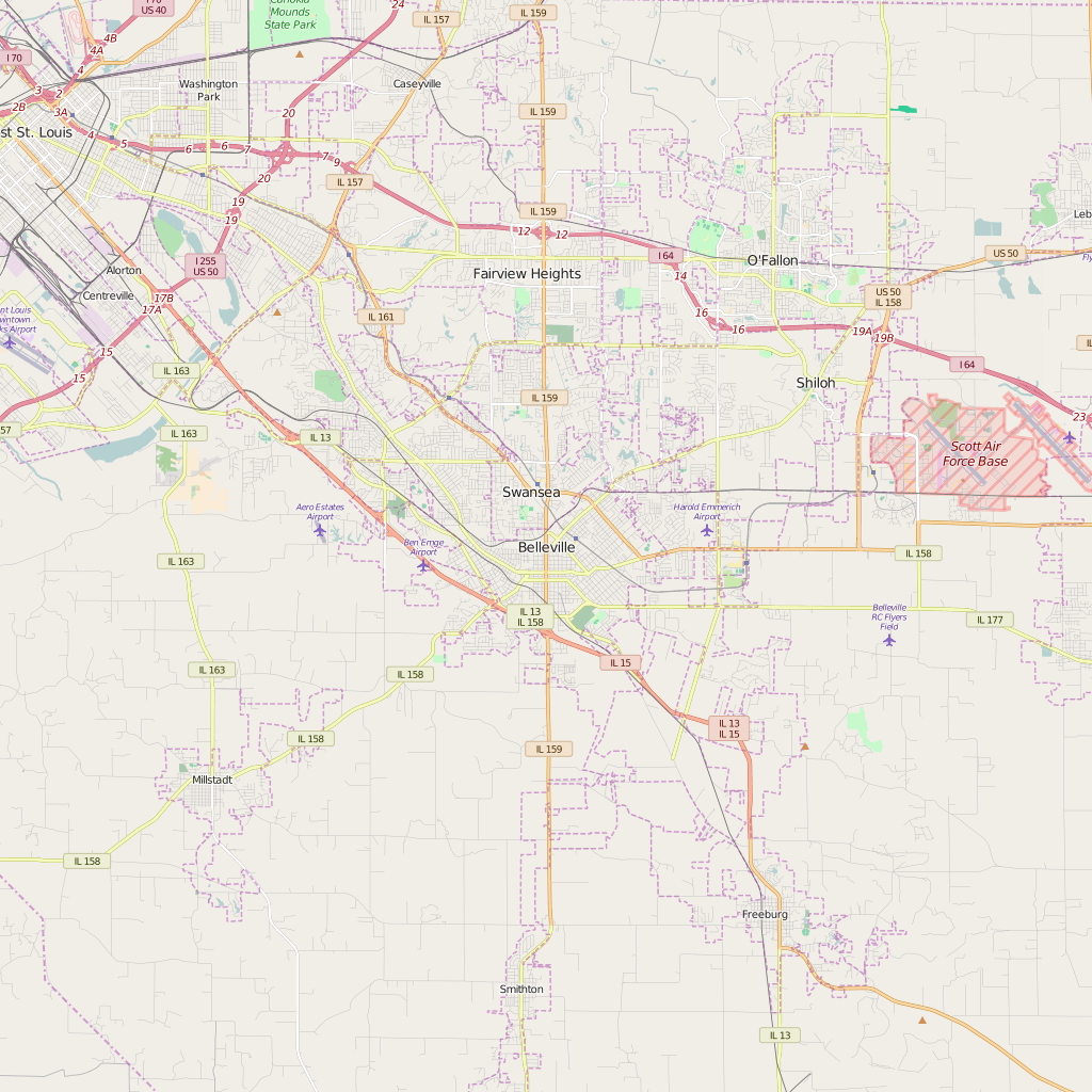 Editable City Map of Belleville, IL