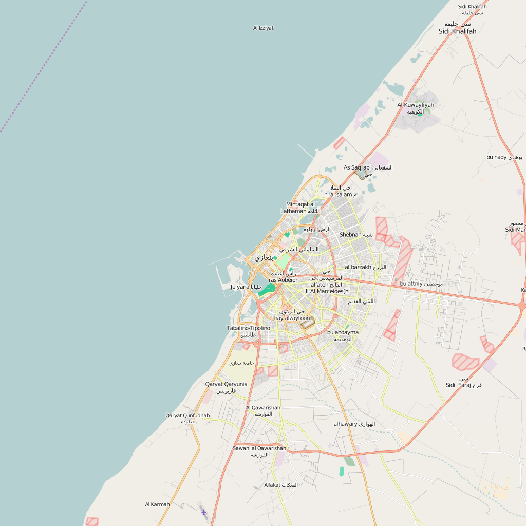 Editable City Map of Benghazi Map Illustrators