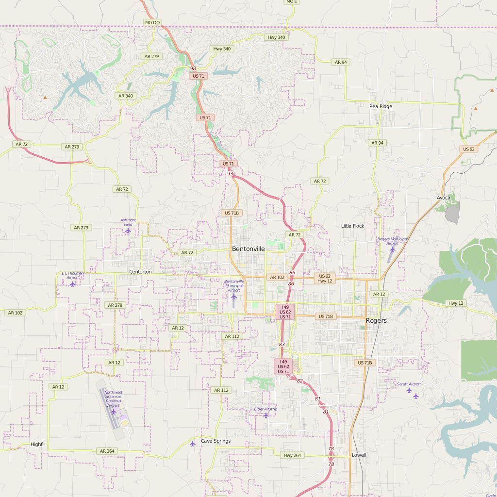 Detailed Editable Vector Map Of Bentonville Map Illustrators - Bentonville ar on us map