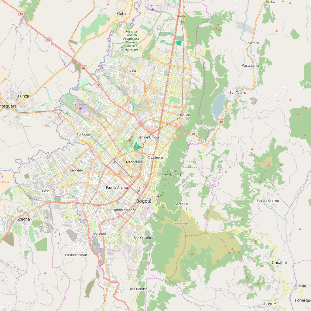 Editable City Map of Bogota