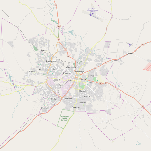 Editable City Map of Bulawayo