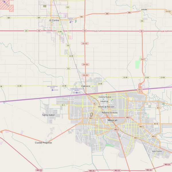 Editable City Map of Calexico, CA