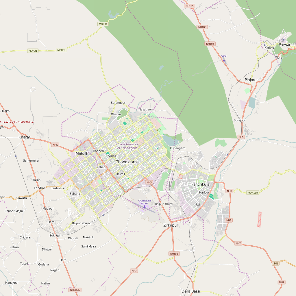 Editable City Map of Chandigarh