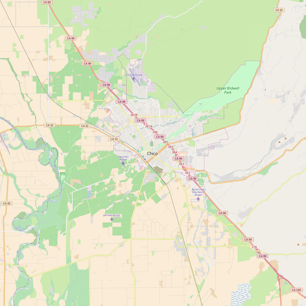 Editable City Map of Chico, CA