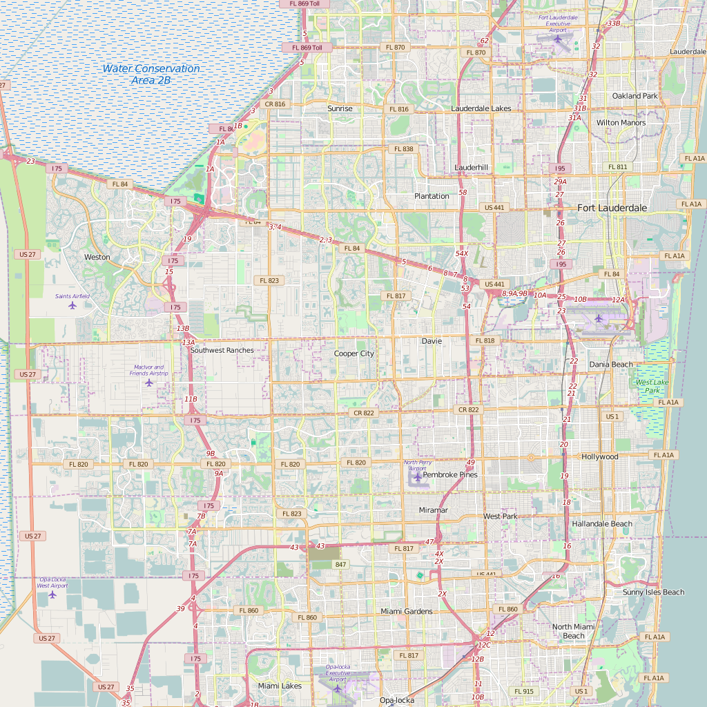 Editable City Map of Cooper City, FL