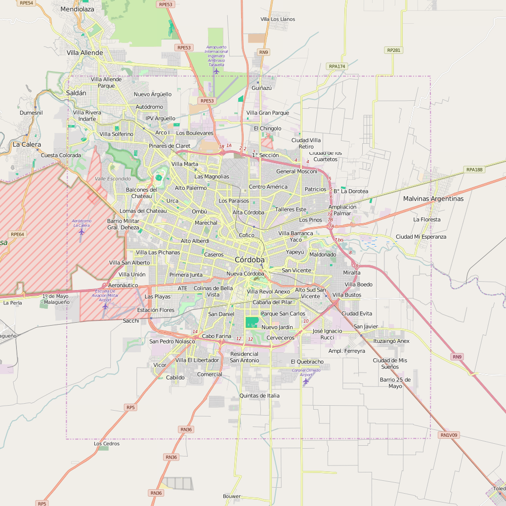 Editable City Map of Cordoba