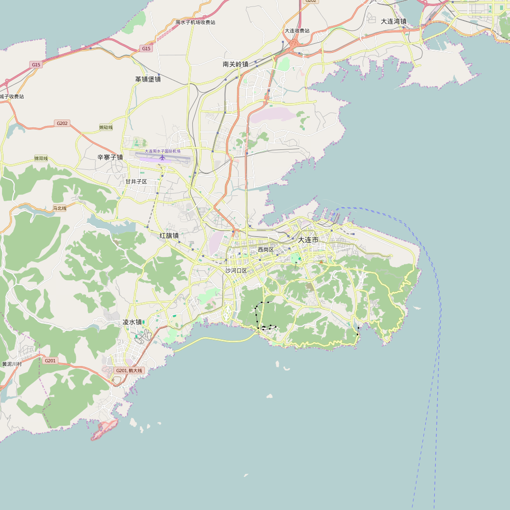 Editable City Map of Dalian