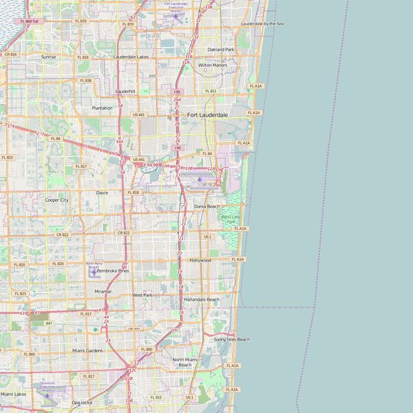 Editable City Map of Dania Beach, FL