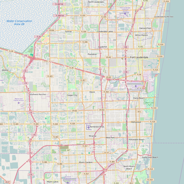 Editable City Map of Davie, FL