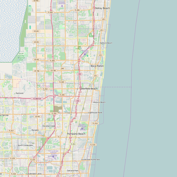 Editable City Map of Deerfield Beach, FL