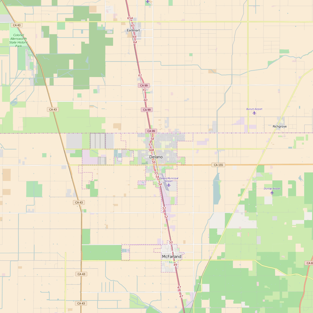 Editable City Map of Delano, CA