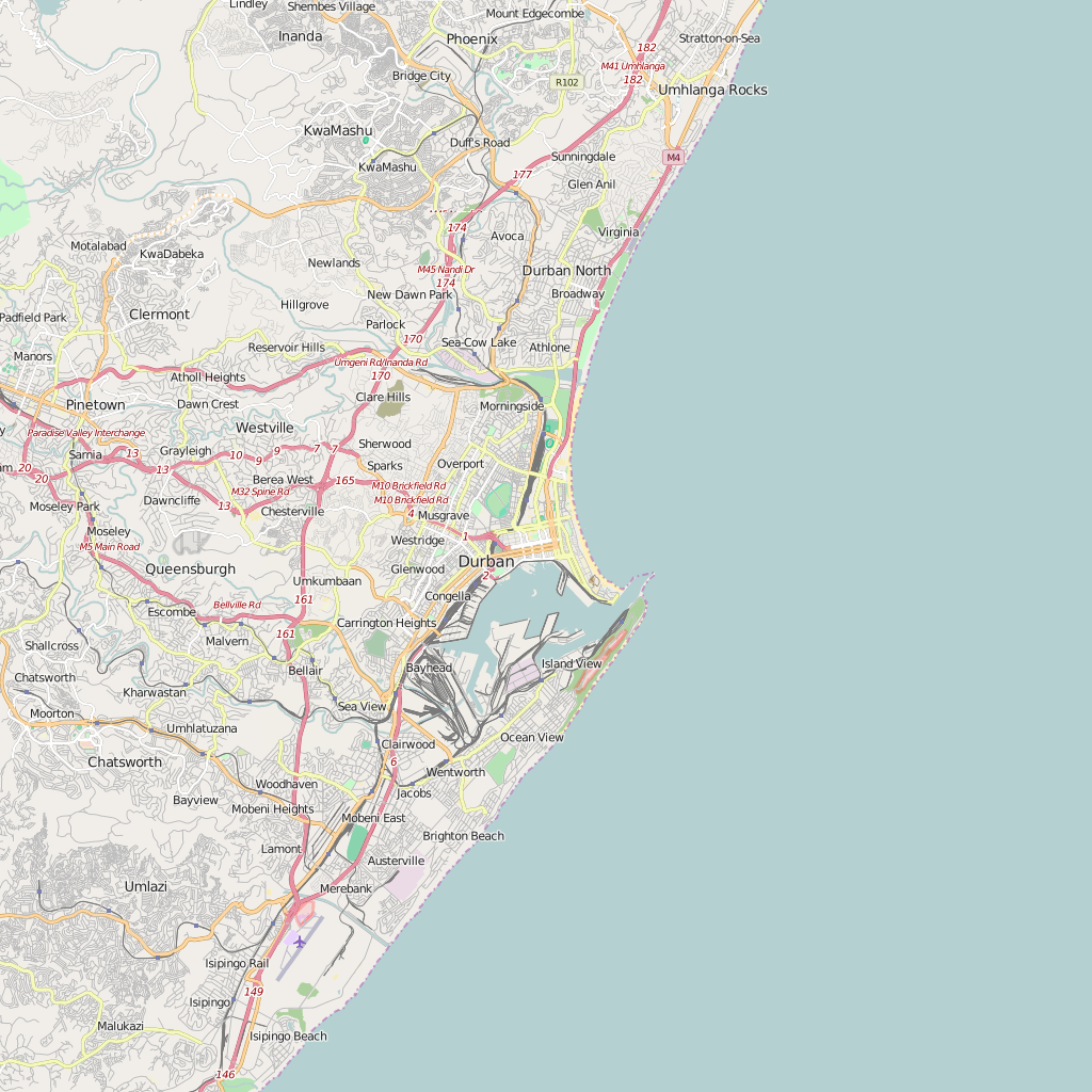 Editable City Map of Durban
