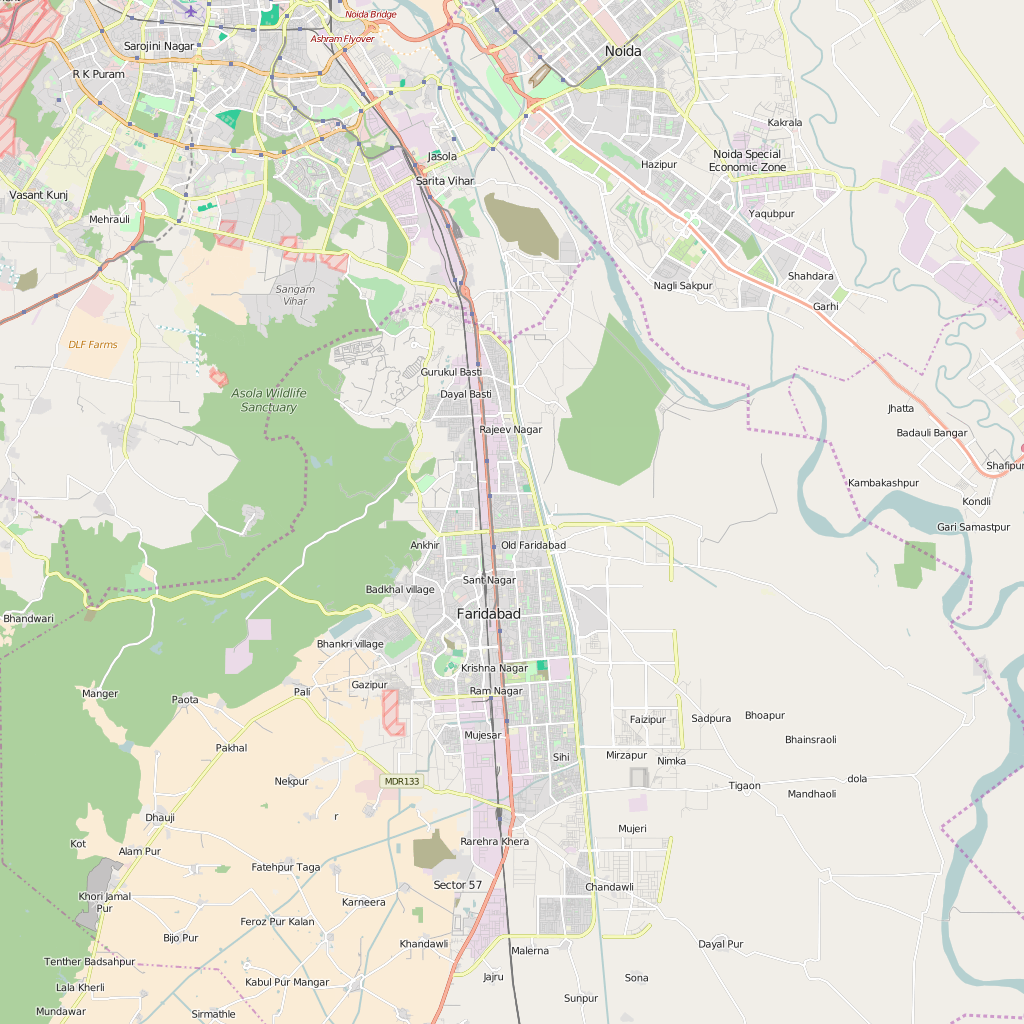 Editable City Map of Faridabad