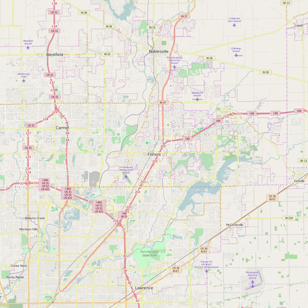 Editable City Map of Fishers, IN