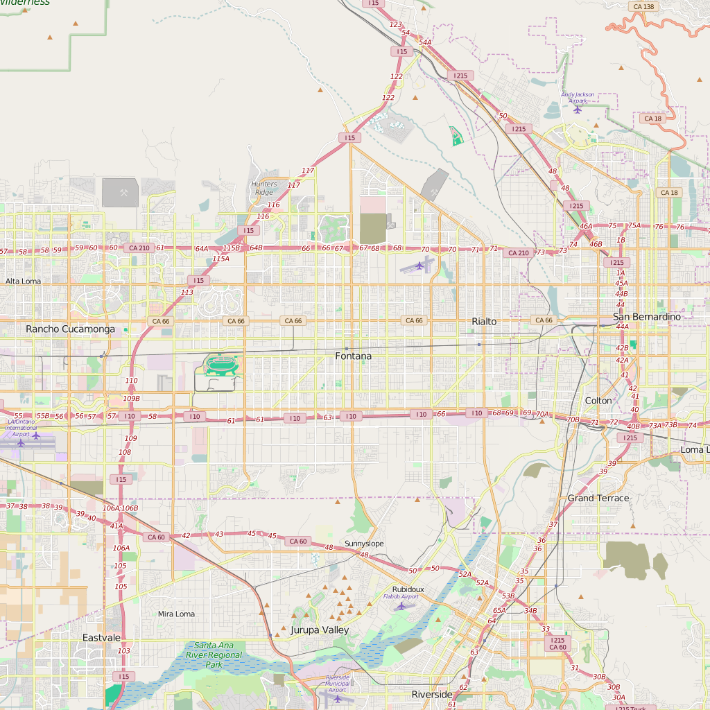 Editable City Map of Fontana, CA