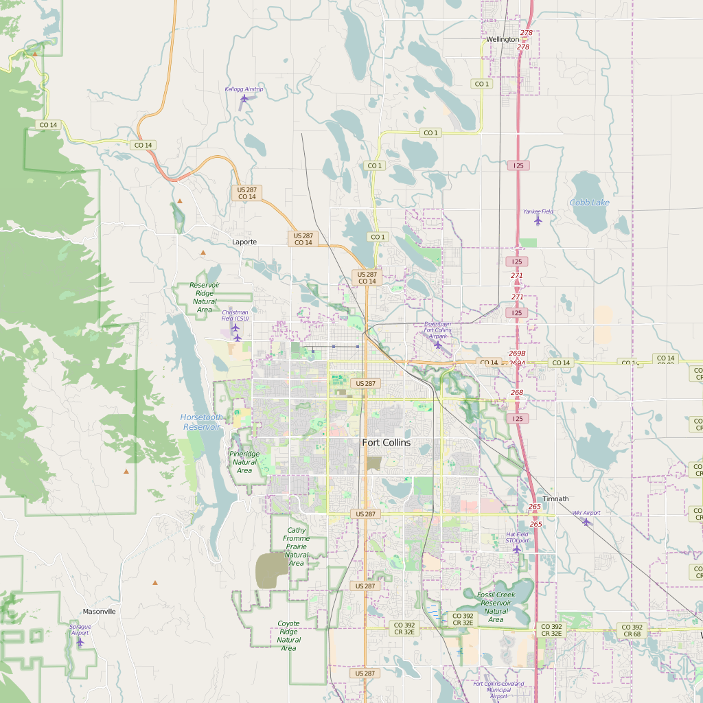 Editable City Map of Fort Collins, CO