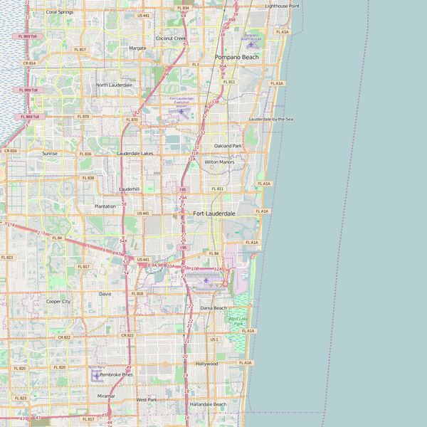 Editable City Map of Fort Lauderdale, FL