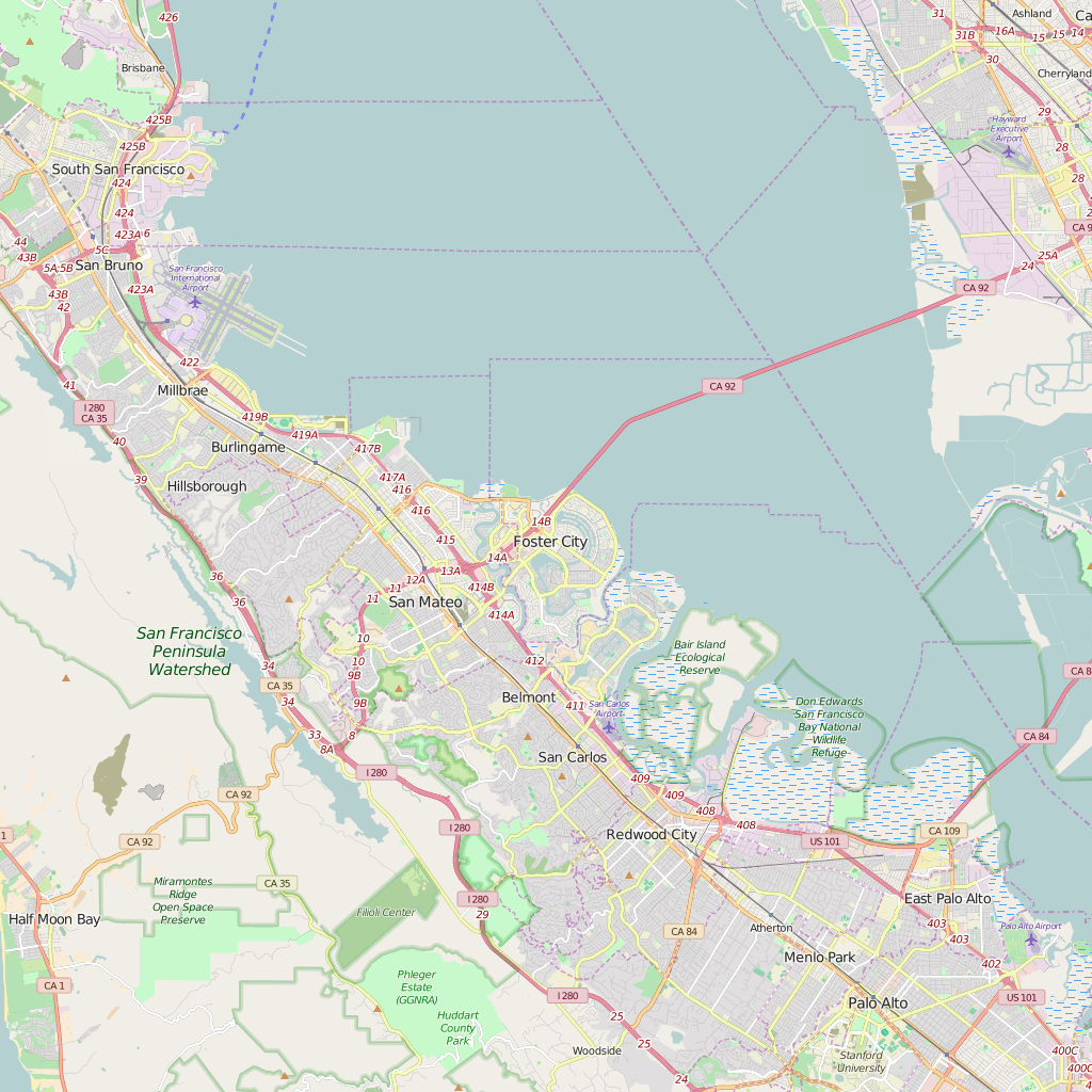 Editable City Map of Foster City, CA