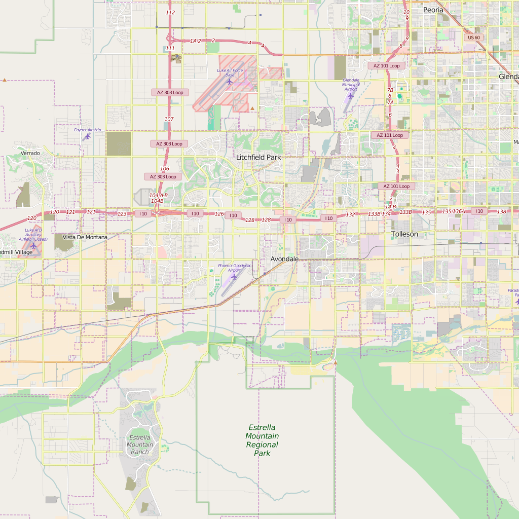 Editable City Map of Goodyear, AZ