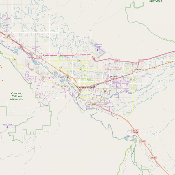 Editable City Map of Grand Junction, CO