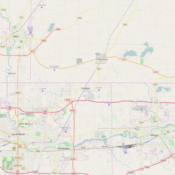 Editable City Map of Granger, IN