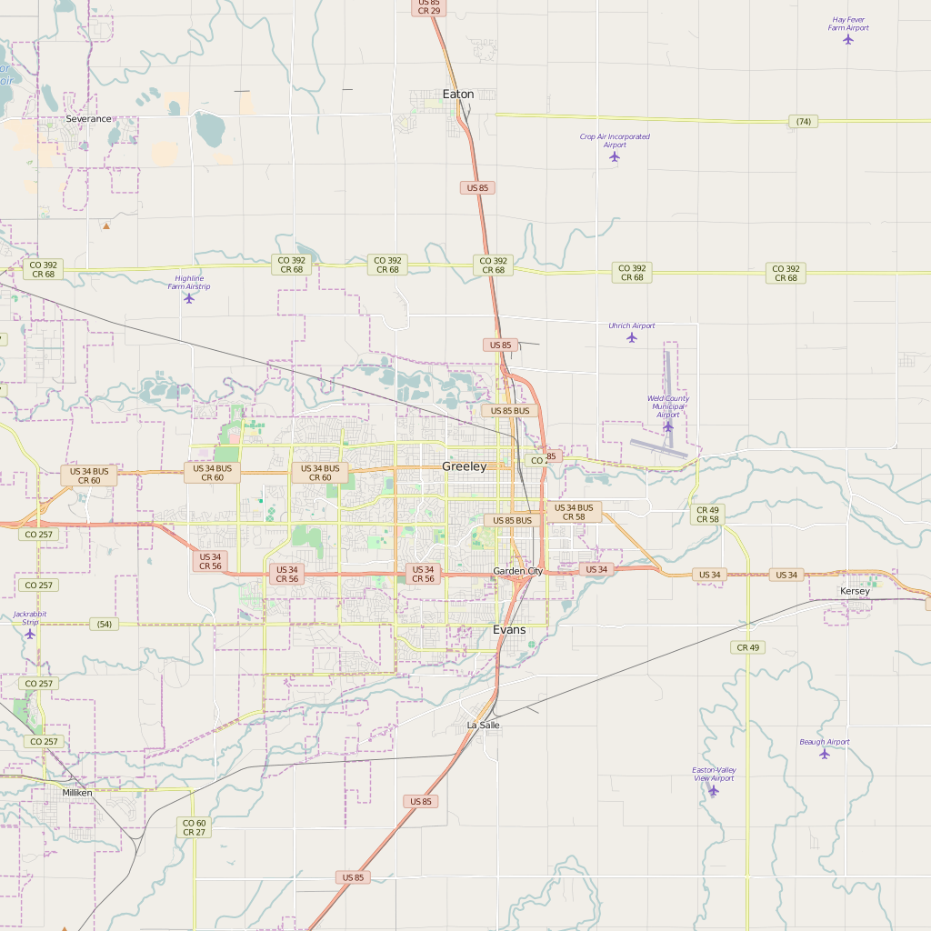 Editable City Map of Greeley, CO