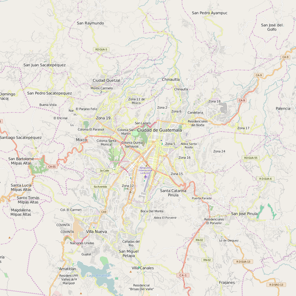 Editable City Map of Guatemala